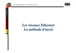 Les réseaux Ethernet : Méthode d'accès