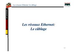 Les réseaux Ethernet : Le câblage