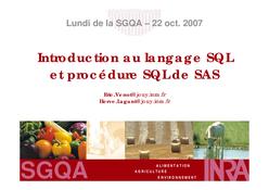 Introduction au langage SQL et procédure SQL
