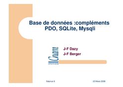 Base de données : PDO, SQLite, Mysqli