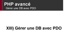 PHP avancé: Gérer une DB avec PDO
