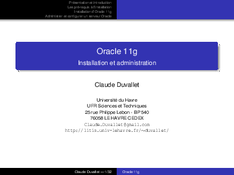 Oracle 11g installation et administration